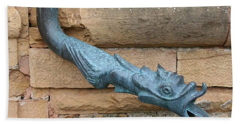 Dragon Hand Towel featuring the photograph Dragon Waterspout Chateau De Cormatin by Christiane Schulze Art And Photography