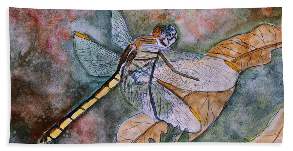 Dragonfly Hand Towel featuring the painting Dragonfly by Derek Mccrea