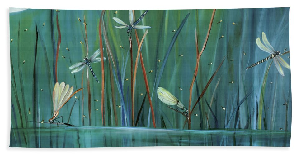 Dragonfly Hand Towel featuring the painting Dragonfly Diner by Carol Sweetwood