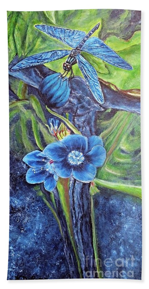 Nature Blue Dragonfly Beneficial Insect Eats Mosquitos And Pests Aphid Wolf Blue Prussian Blue Navy Blue Flowers Flowerhead Camouflage Mimicry Crypsis Blends With Flower And Surroundings Motion Camouflage Blue Gray Tree Branch Abstract Water Variegated Blue Gray Background Lagoon Marsh Habitat Warm Green Foliage Leaves Hand Towel featuring the painting Dragonfly Hunt For Food In The Flowerhead by Kimberlee Baxter
