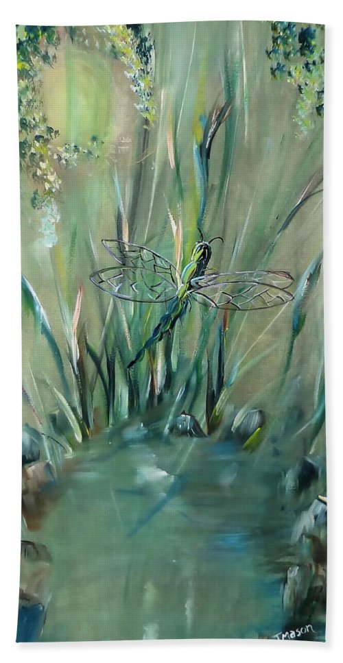 Dragonfly Bath Towel featuring the painting Dragonfly by Jessica Mason