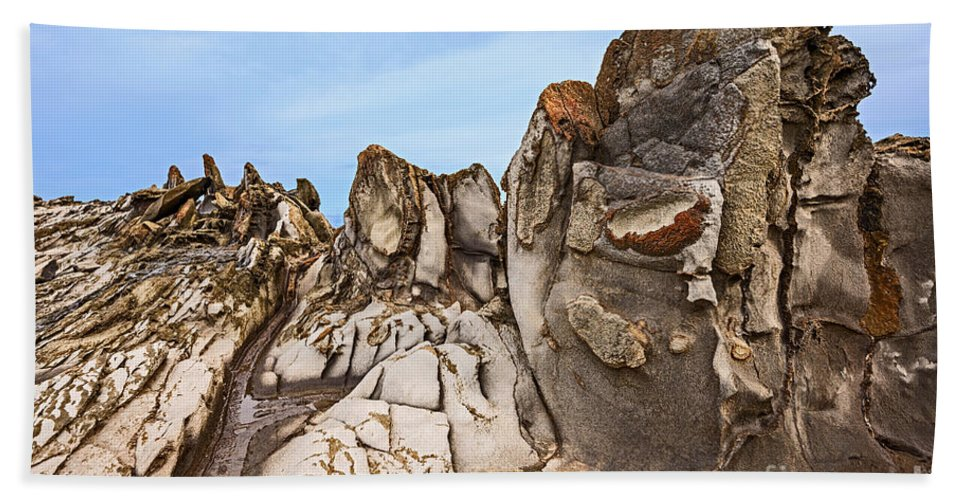 Dragons Teeth Hand Towel featuring the photograph Dragon's Teeth Rocks by Jamie Pham