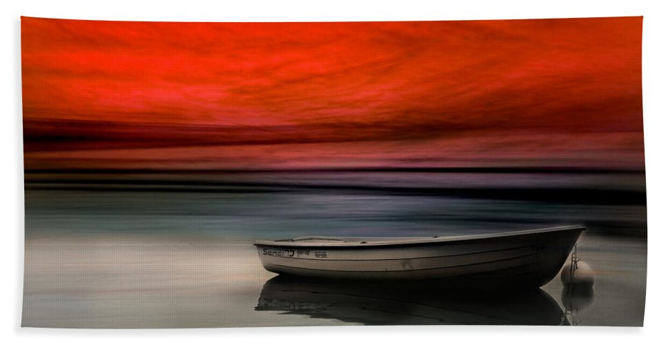 Boat Bath Sheet featuring the photograph Drama Lake by Heike Hultsch