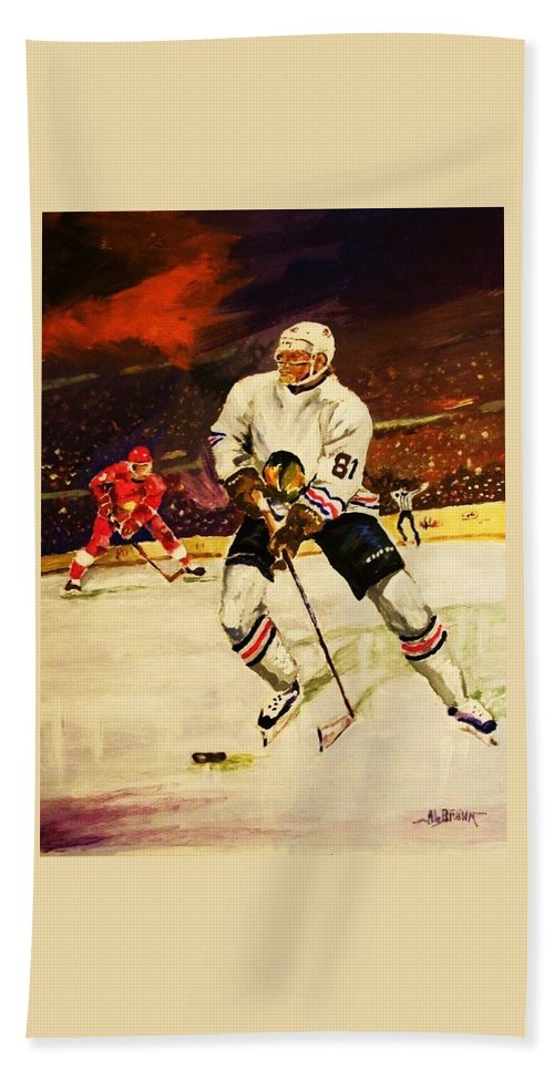 Hockey Hand Towel featuring the painting Drama On Ice by Al Brown