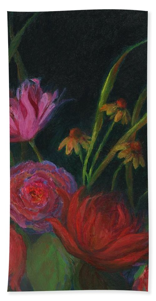 Floral Painting Bath Sheet featuring the painting Dramatic Floral Still Life Painting by Mary Wolf
