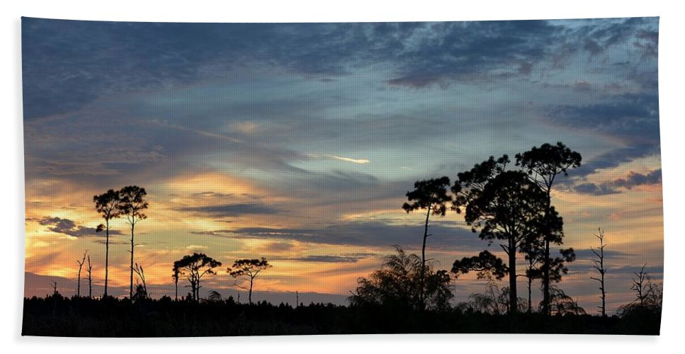 Sunset Hand Towel featuring the photograph Dramatic Sunset In The Cove by Patricia Twardzik