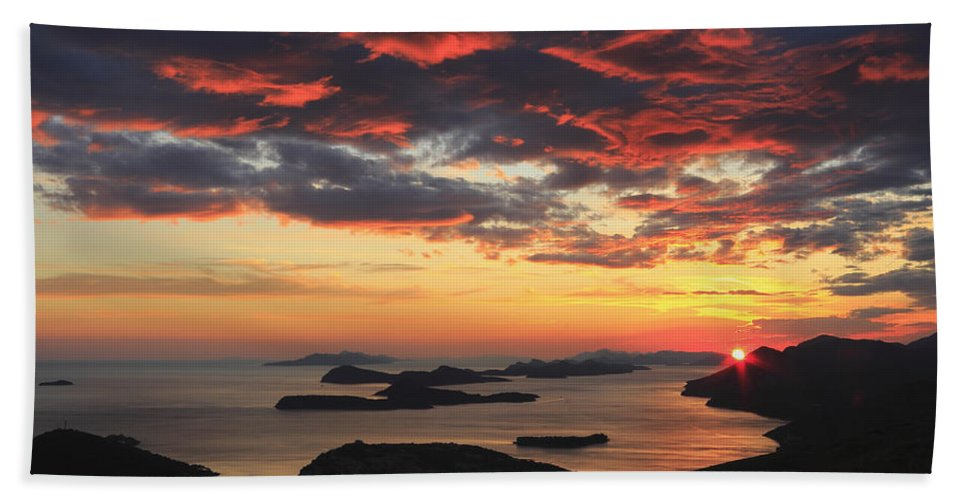 Adriatic Bath Sheet featuring the photograph Dramatic Sunset Over Dubrovnik Croatia by Ivan Pendjakov