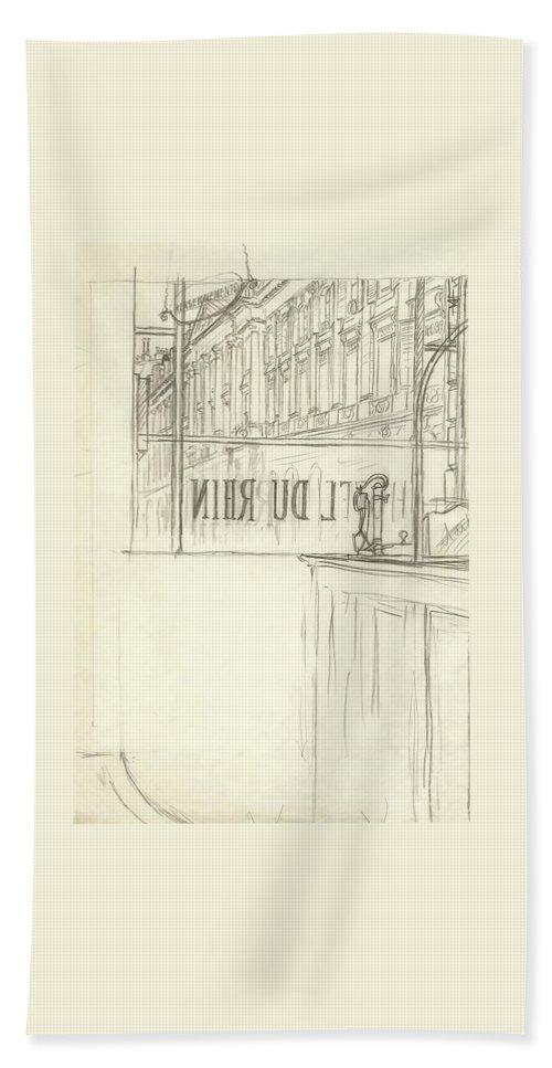 Illustration Bath Towel featuring the digital art Drawing Of A Bar And Front Window Of Hotel Du Rhin by Carl Oscar August Erickson