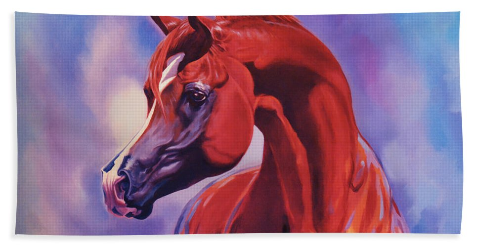 Horse Bath Sheet featuring the painting Dream by Ahmed Bayomi