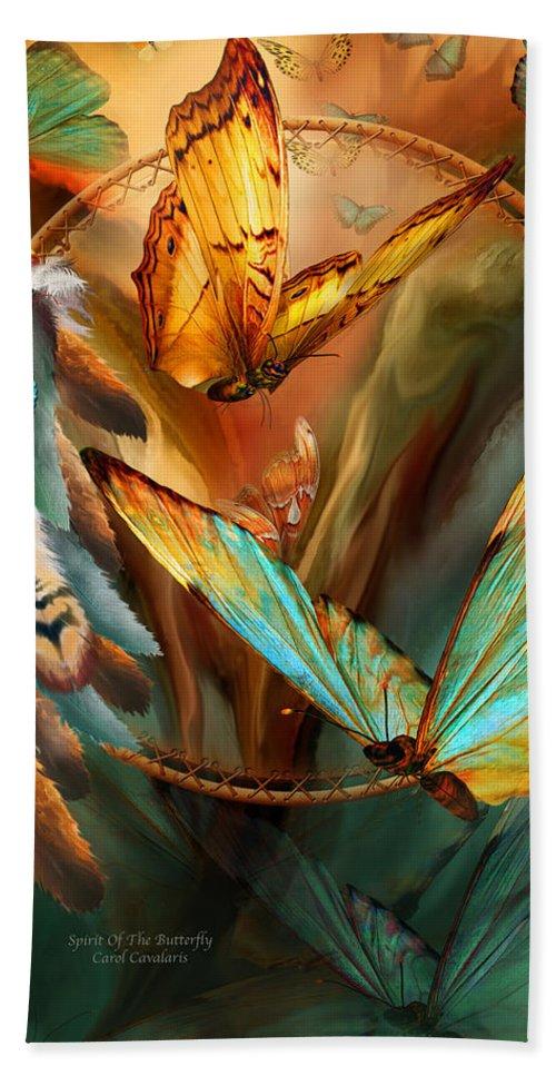 Carol Cavalaris Bath Sheet featuring the mixed media Dream Catcher - Spirit Of The Butterfly by Carol Cavalaris