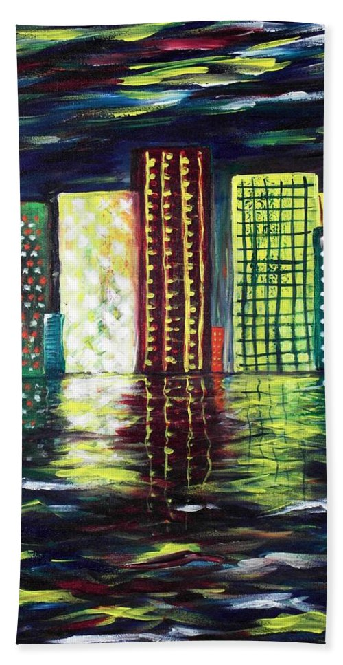 Skyline Hand Towel featuring the painting Dream City by Anastasiya Malakhova