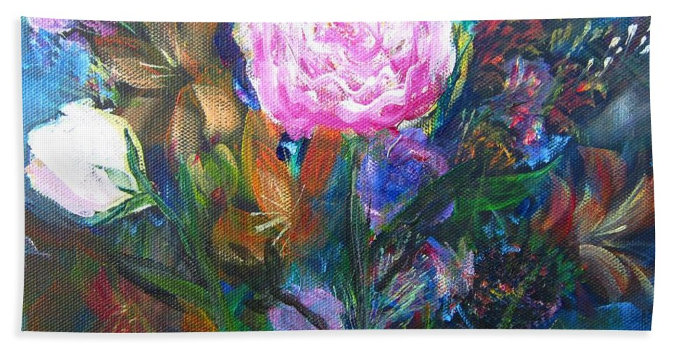 Acrylic Hand Towel featuring the painting Dream Garden by Marita McVeigh