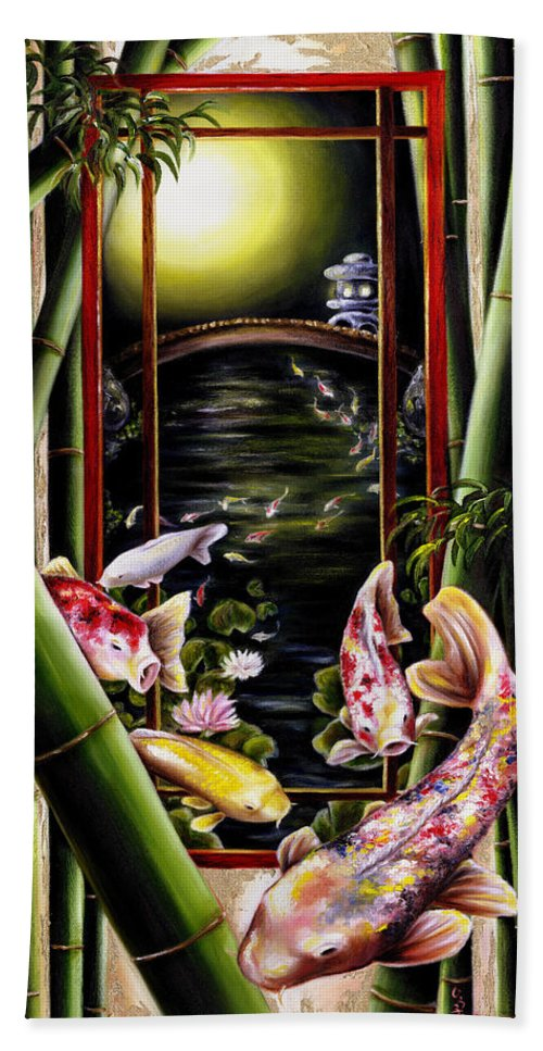 Japanese Hand Towel featuring the painting Dream by Hiroko Sakai