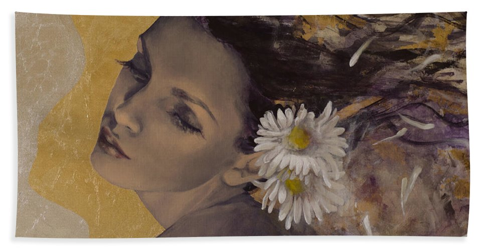 Art Bath Sheet featuring the painting Dream Traveler by Dorina Costras
