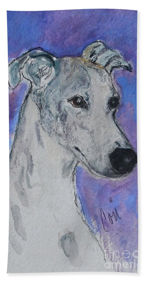 Whippet Bath Towel featuring the painting Dream Weaver by Cori Solomon