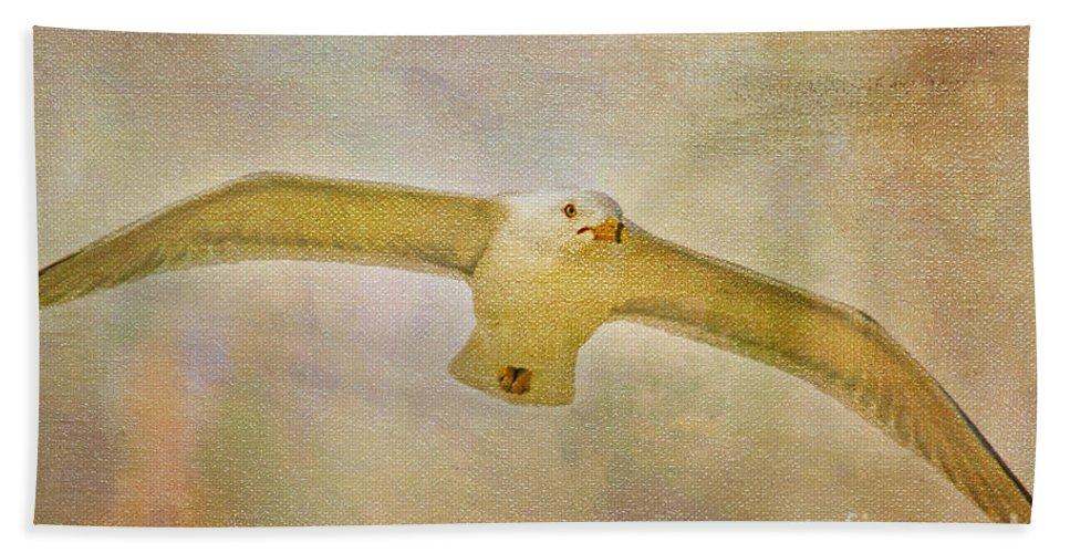 Seagull Bath Sheet featuring the photograph Dream World Seagull by Deborah Benoit