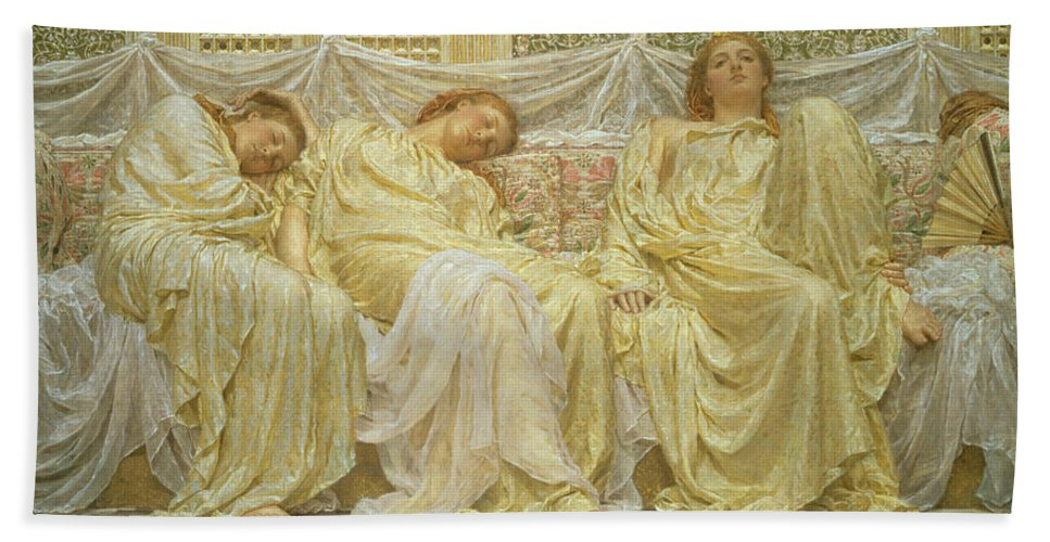 Albert Joseph Moore Hand Towel featuring the painting Dreamers by Albert Joseph Moore