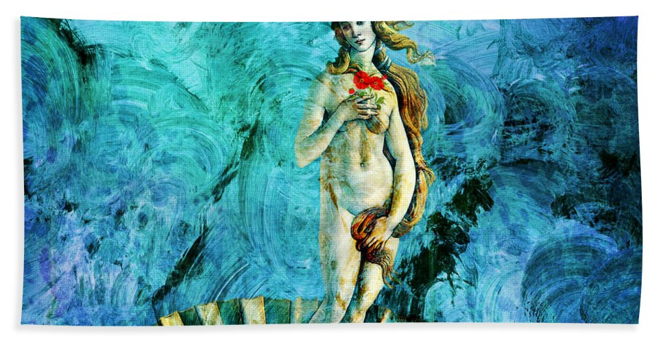 Birth Of Venus Hand Towel featuring the painting Dreams Of Venus by Ally White