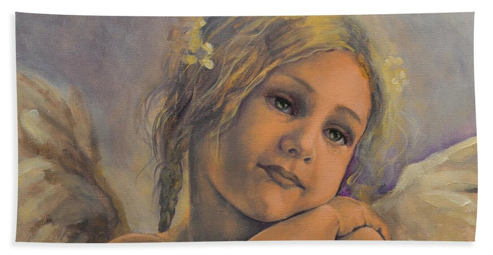 Art Hand Towel featuring the painting Dreamy Angel by Dorina Costras