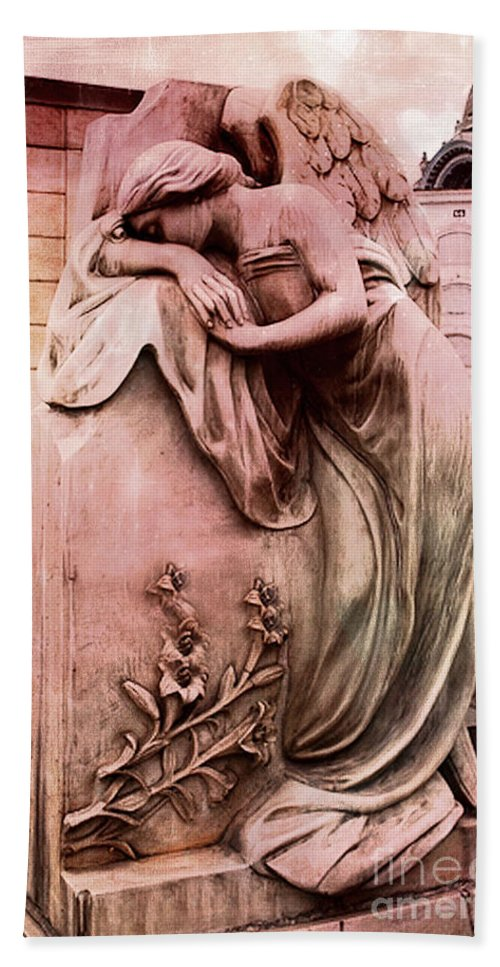 Angel Bath Sheet featuring the photograph Dreamy Surreal Beautiful Angel Art Photograph - Angel Mourning Weeping At Gravestone by Kathy Fornal
