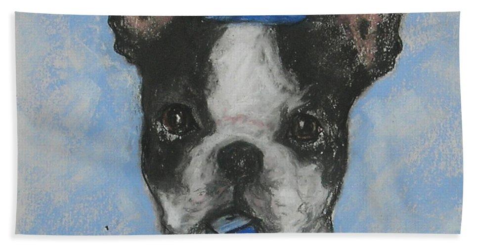 Boston Terrier Hand Towel featuring the drawing Dreideler by Cori Solomon