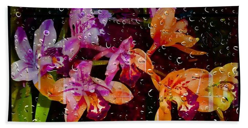 Flowers Hand Towel featuring the photograph Drenched Flowers by Ellen Cannon