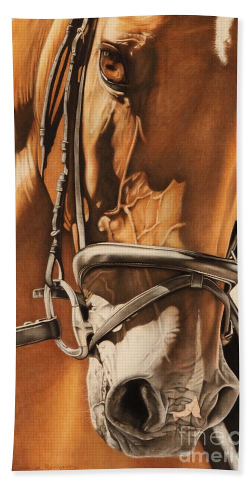 Horse Hand Towel featuring the pastel Dressage And Details by Joni Beinborn
