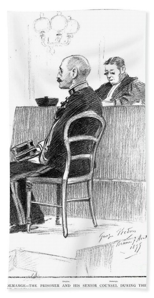 1899 Bath Sheet featuring the drawing Dreyfus Affair 1899 by Granger
