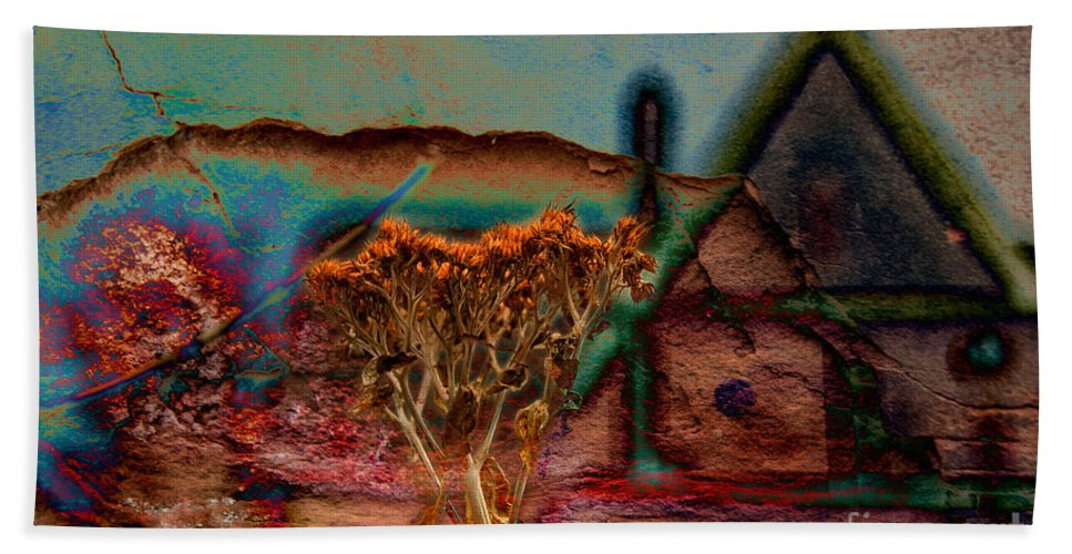 Composite Hand Towel featuring the photograph Dried And Growing From A Painted Rock by Jay Ressler