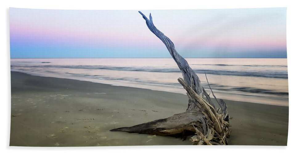 Beach Hand Towel featuring the photograph Driftwood At Dusk by Phill Doherty