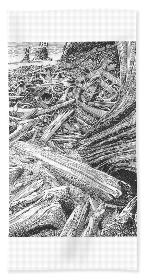 Find The Critter? Bath Sheet featuring the drawing Critter In The Driftwood by Jack Pumphrey