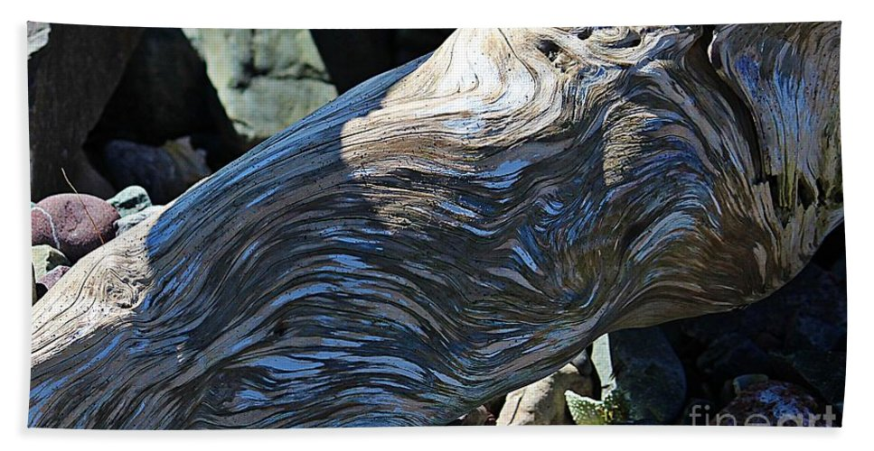 Driftwood Texture And Shadows Hand Towel featuring the photograph Driftwood Texture And Shadows by Barbara Griffin