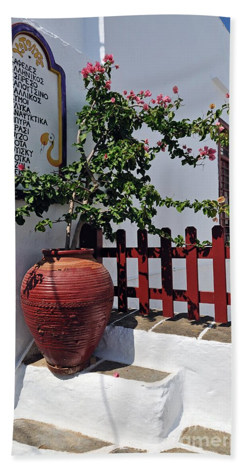 Sifnos; Apollonia; City; Town; Bar; Cafeteria; Cafe; Drinks; List; Board; Greece; Greek; Hellas; Cyclades; Kyklades; Aegean; Islands; Holidays; Vacation; Travel; Trip; Voyage; Journey; Tourism; Touristic; Island; Summer; Sunny; White; Flowers; Flowerpot; Pot Hand Towel featuring the photograph Drinks List In Sifnos Island by George Atsametakis