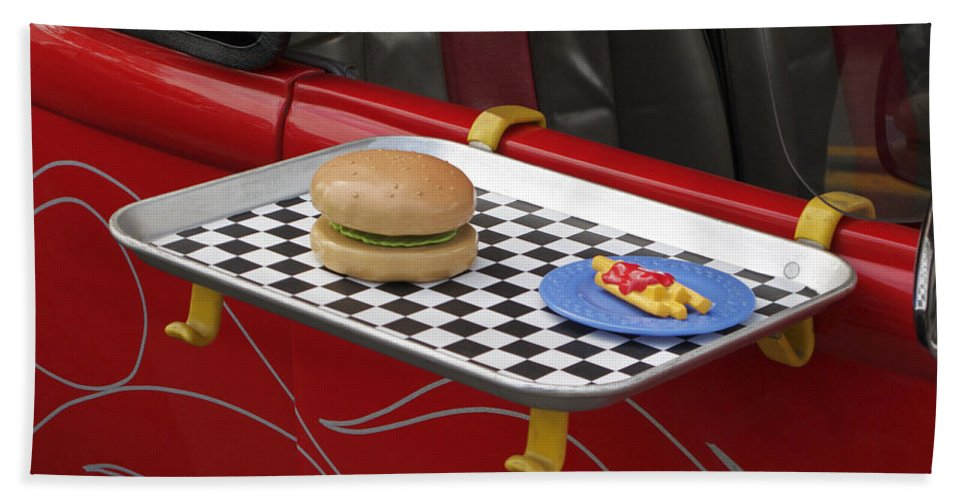 Classic Car Hand Towel featuring the photograph Drive In Recalled by Ann Horn