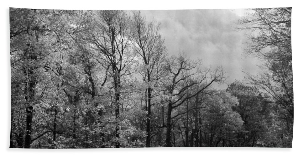 Skyline Bath Sheet featuring the photograph Drive Through The Mountains Bw by Carolyn Stagger Cokley