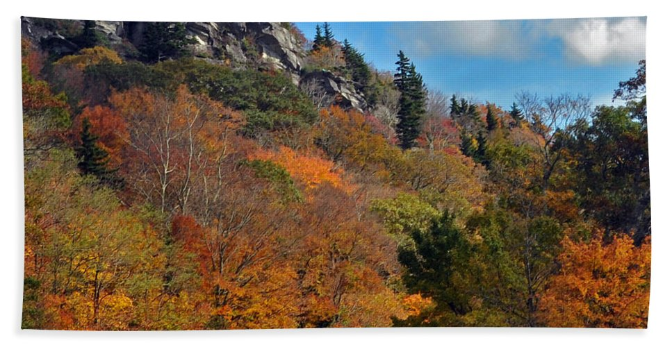 Autumn Scenes Bath Sheet featuring the photograph Driving Through Autumn's Beauty  by Lydia Holly