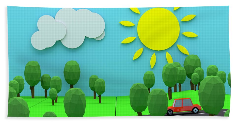 3d Hand Towel featuring the photograph Driving Through Countryside by Jan Brons