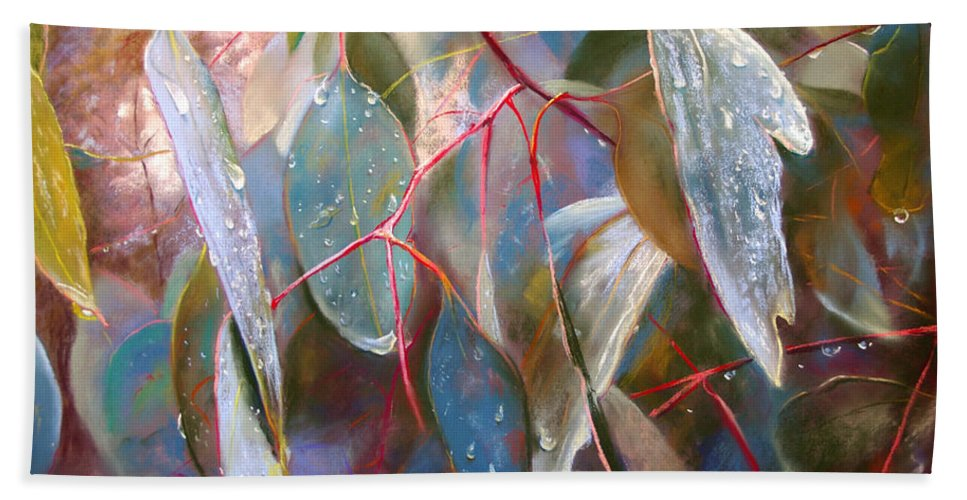 Lynda Robinson Hand Towel featuring the painting Drought Relief by Lynda Robinson