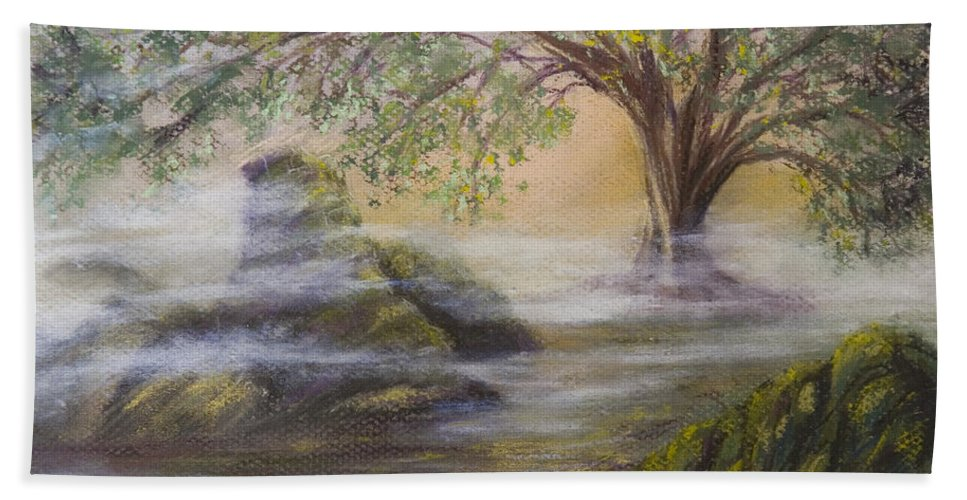 Landscape Mist River Magical Druid Folklore Magic Mysterious Rocks Sunset Ireland Scotland Wales Ancient Hand Towel featuring the pastel Druid's Altar At Mystic River by Brenda Salamone