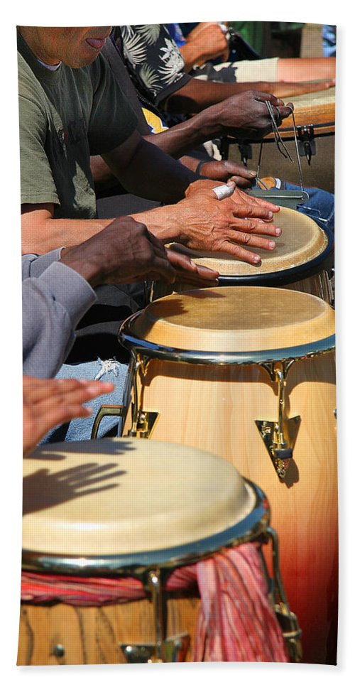 Drums Bath Sheet featuring the photograph Drum Jammin In Golden Gate Park by Robert Woodward