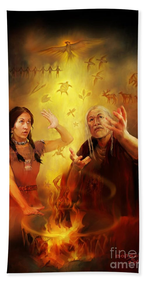 Indian Hand Towel featuring the painting Drum Story Elders Teaching by Rob Corsetti