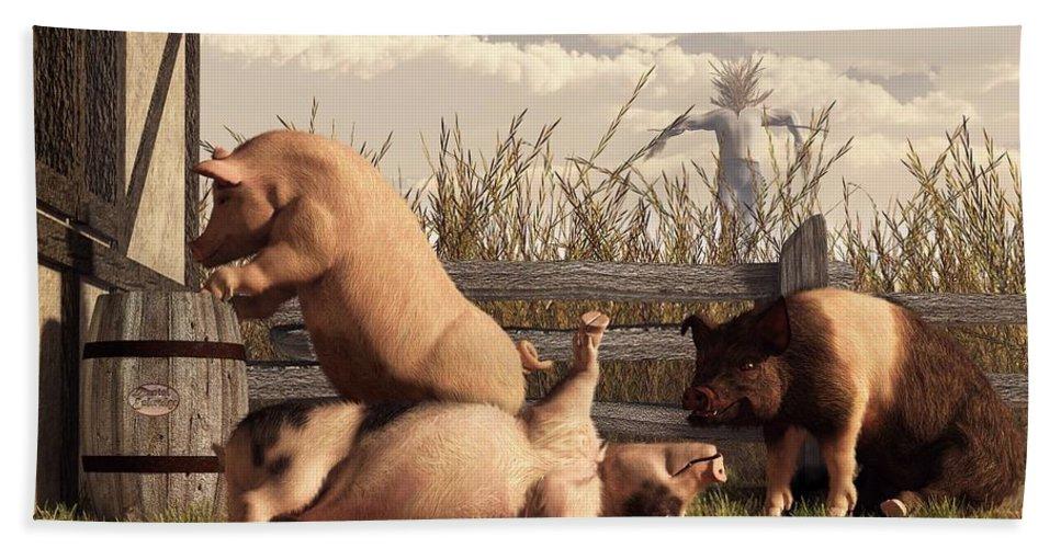 Pig Art Hand Towel featuring the digital art Drunken Pigs by Daniel Eskridge