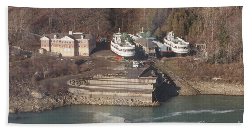 Maid Of The Mist In Dry Dock Hand Towel featuring the photograph Dry Dock by William Norton