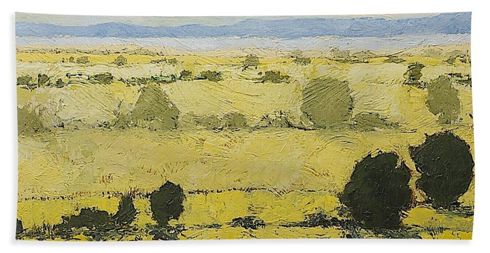 Landscape Hand Towel featuring the painting Dry Grass by Allan P Friedlander