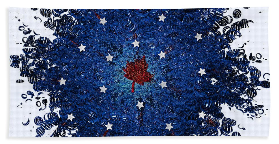 First Star Art By Jrr And Jammer Bath Towel featuring the mixed media Dual Citizenship 1 by First Star Art