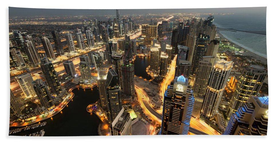 Dubai Bath Sheet featuring the photograph Dubai Marina Twilight by Robert Work