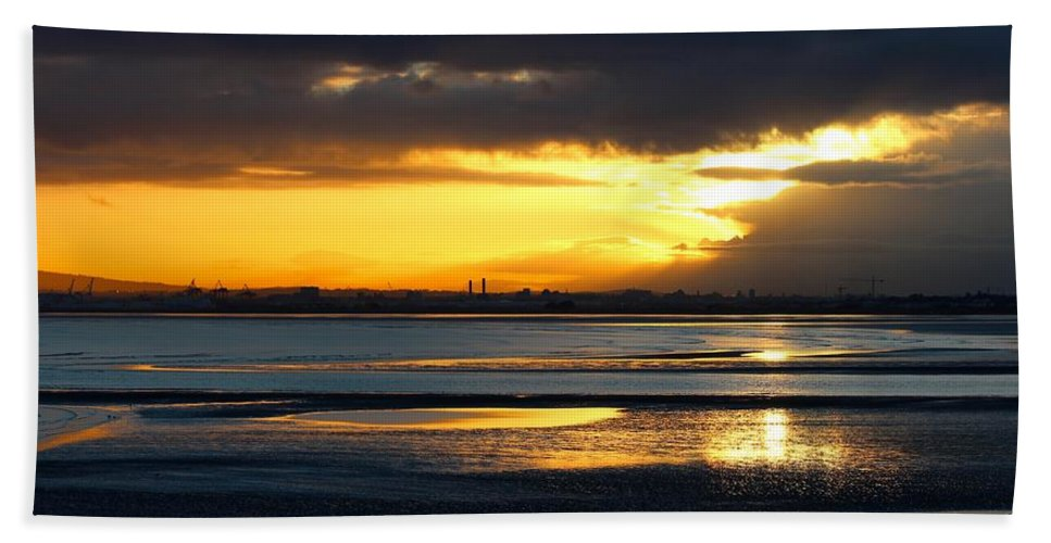 Dublin Bay Hand Towel featuring the photograph Dublin Bay Sunset by Robert Phelan