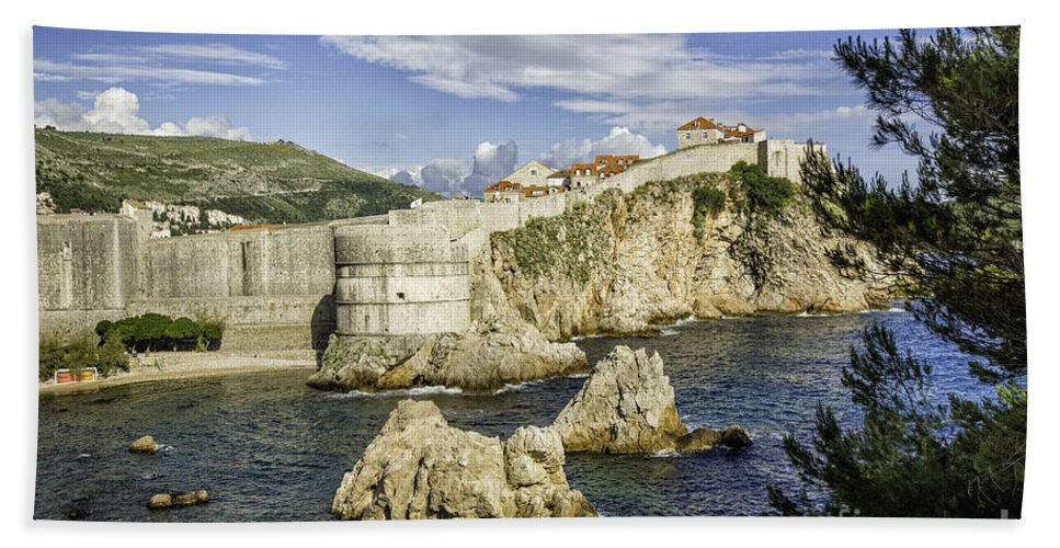Croatia Bath Sheet featuring the photograph Dubrovnik Walled City by Timothy Hacker