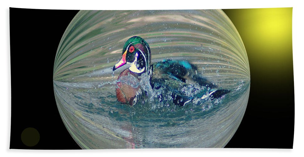 Ducks Hand Towel featuring the photograph Duck In A Bubble by Jeff Swan