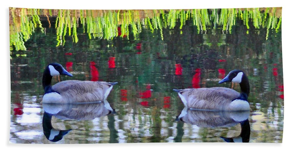 Ducks Hand Towel featuring the photograph Duckland Pond Reflections by Lydia Holly